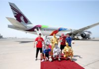 Qatar Airways lleva a Moscú avión con diseños de la FIFA