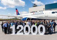 Airbus celebra la entrega de su avión número 12 mil, un A220-100 a Delta Air Lines